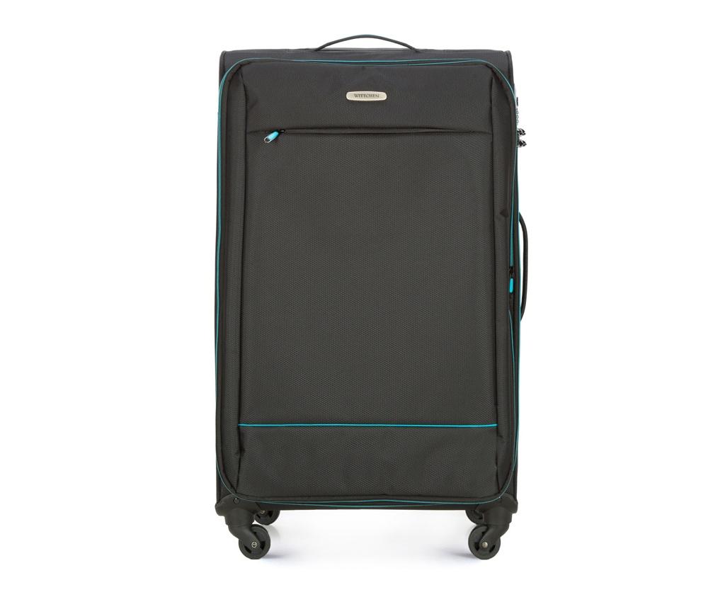 Чемодан на колесиках 27 дюймовЧемодан больших размеров  из коллекции Bon Voyage сделана из полиэстра. Четыре прочных колеса позволяют легко перемещать чемодан. Телескопическая ручка и 2 дополнительные ручки делают передвижение багажа более комфортным.  Внутри и снаружи чемодана яркие  вставки. Дополнительно замоком TSA,который очень удобен  в случае проверки багажа таможенной службой. , который гарантирует безопасное открытие чемоданов и его повторное закрытие без повреждения замка сотрудниками таможни. Модель также имеет молнию, позволяющую увеличить емкость чемодана.  Особенности модели:  основное отделение на молнии с регулируемыми ремнями;  карман из сетки на молнии.    Снаружи:    с лицевой стороны карман на молнии.<br><br>секс: унисекс<br>Цвет: черный<br>материал:: Полиэстер<br>подкладка:: полиэстер<br>высота (см):: 76<br>ширина (см):: 47<br>глубина (см):: 31<br>размер:: большой<br>объем (л):: 91<br>вес (кг):: 3,2