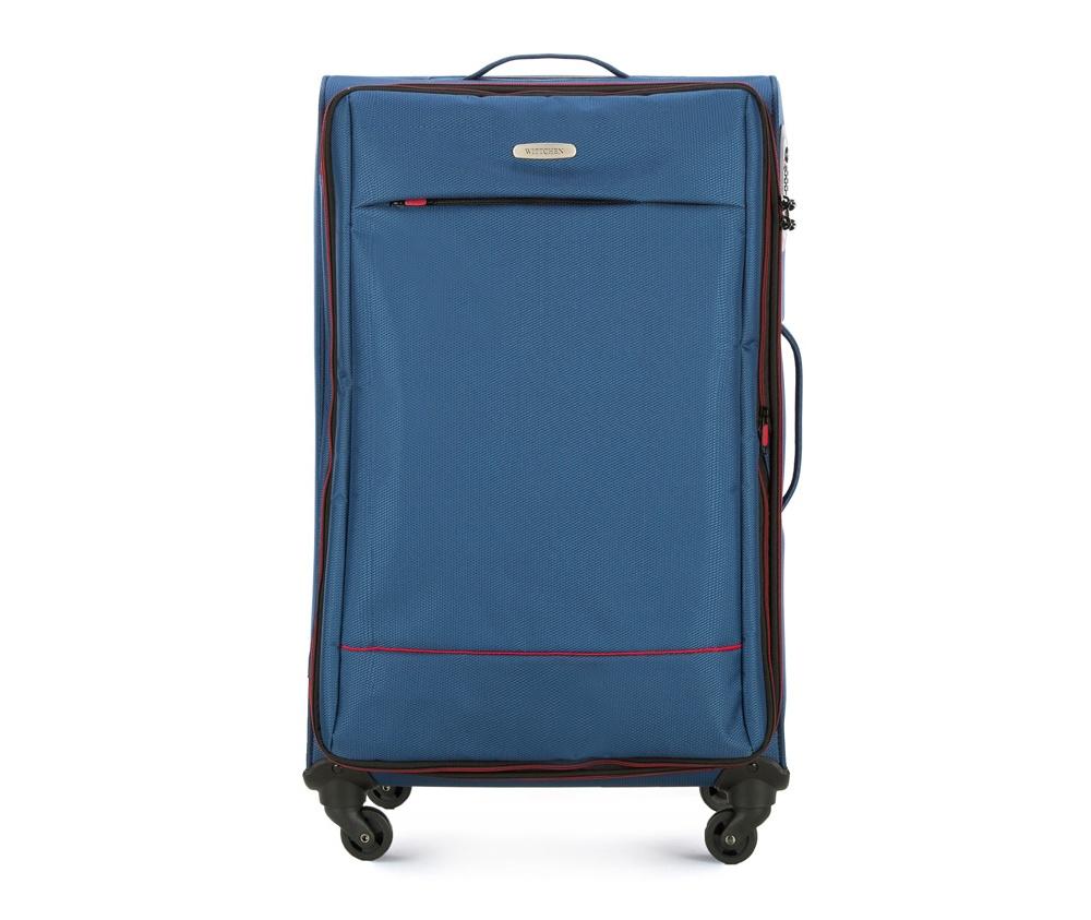 Чемодан на колесиках 27 дюймовЧемодан больших размеров  из коллекции Bon Voyage сделана из полиэстра. Четыре прочных колеса позволяют легко перемещать чемодан. Телескопическая ручка и 2 дополнительные ручки делают передвижение багажа более комфортным.  Внутри и снаружи чемодана яркие  вставки. Дополнительно замоком TSA,который очень удобен  в случае проверки багажа таможенной службой. , который гарантирует безопасное открытие чемоданов и его повторное закрытие без повреждения замка сотрудниками таможни. Модель также имеет молнию, позволяющую увеличить емкость чемодана.  Особенности модели:  основное отделение на молнии с регулируемыми ремнями;  карман из сетки на молнии.    Снаружи:    с лицевой стороны карман на молнии.<br><br>секс: унисекс<br>Цвет: синий<br>материал:: Полиэстер<br>подкладка:: полиэстер<br>высота (см):: 76<br>ширина (см):: 47<br>глубина (см):: 31<br>размер:: большой<br>объем (л):: 91<br>вес (кг):: 3,2
