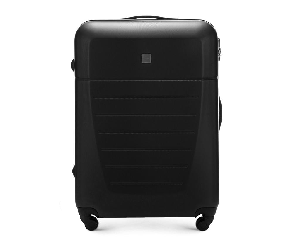 Большой чемодан 27\Большой чемодан сделан из высокопрочного и устойчивого к царапинам пластика ABS. Выдвижная ручка, главное отделение на молнии с кодовым замком TSA, разделённое на две части: одно отделение с фиксирующими ремнями для одежды, второе отделение закрывается на молнию, внутренний карман на молнии.<br><br>секс: унисекс<br>Цвет: черный<br>материал:: Поликарбонат<br>подкладка:: полиэстр<br>высота (см):: 74<br>ширина (см):: 51<br>глубина (см):: 26<br>размер:: большой<br>объем (л):: 81<br>вес (кг):: 4,2