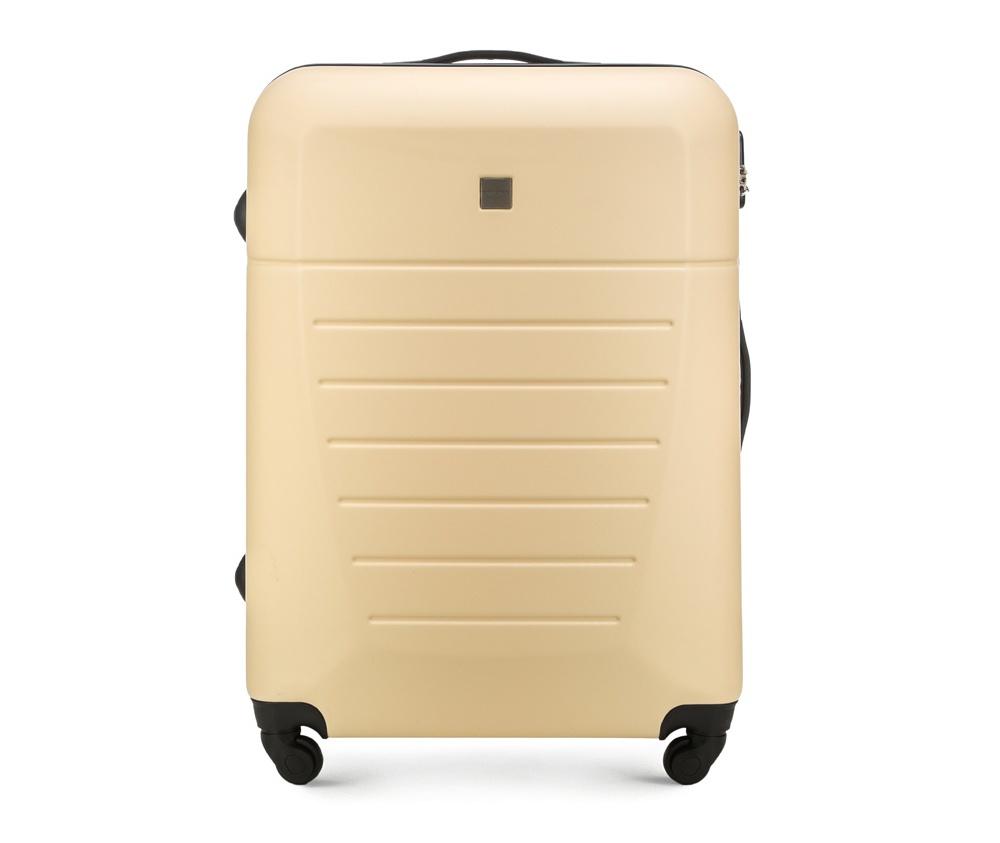 Большой чемодан 27\Большой чемодан сделан из высокопрочного и устойчивого к царапинам пластика ABS. Выдвижная ручка, главное отделение на молнии с кодовым замком TSA, разделённое на две части: одно отделение с фиксирующими ремнями для одежды, второе отделение закрывается на молнию, внутренний карман на молнии.<br><br>секс: унисекс<br>Цвет: бежевый<br>материал:: ABS пластик<br>подкладка:: полиэстр<br>высота (см):: 74<br>ширина (см):: 51<br>глубина (см):: 26<br>размер:: большой<br>объем (л):: 81<br>вес (кг):: 4.2