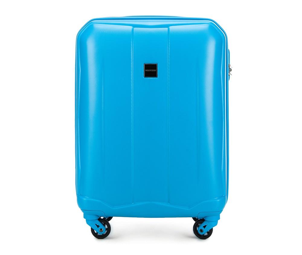 Чемодан на колесиках 19\\ Wittchen 56-3A-261-77, голубойМаленький чемодан из коллекции Summer Line II выполнен из прочного и устойчевого к царапинам ABS пластика. Модель оснащена четырьмя прочными  колесиками, двухступенчатой выдвижной ручкой и кодовым замком.   Внутри:    отделение с эластичными ремнями, предохраняющими одежду от перемещения;  дополнительно основное отделение оснащено перегородкой на молнии с карманом из сетки на молнии;  карман - сетка на молнии;  отделение на молнии.   *Указанные размеры включают в себя также выступающие элементы, такие как ручки или колеса.<br><br>секс: унисекс<br>Цвет: голубой