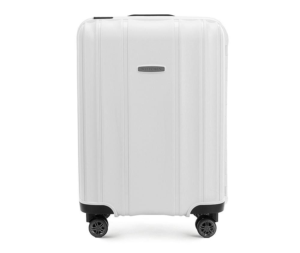 Чемодан на колёсиках 20\\Маленький чемодан из коллекции Premium PP. Модель изготовлена из эластичного и ударопрочного полипропилена. Чемодан соответствует требованиям ручной клади. Имеет четыре двойных колеса, двухступенчатую, выдвижную ручку и дополнительную ручку, облегчающие перемещение багажа. Закрывается на три пряжки главная из которых, на боковой панели чемодана, оснащена замком TSA (удобен в случае досмотра багажа таможенной службой). Внутри: основное отделение с эластичными ремнями, предохраняющими одежду от перемещения; дополнительно основное отделение оснащено перегородкой с тремя карманами, один из которых из сетки на молнии с ремнями, предохраняющими багаж от перемещения.<br><br>секс: унисекс<br>Цвет: белый<br>материал:: Полипропилен<br>высота (см):: 56<br>ширина (см):: 39<br>глубина (см):: 20<br>размер:: ручная кладь<br>объем (л):: 36<br>вес (кг):: 3,2