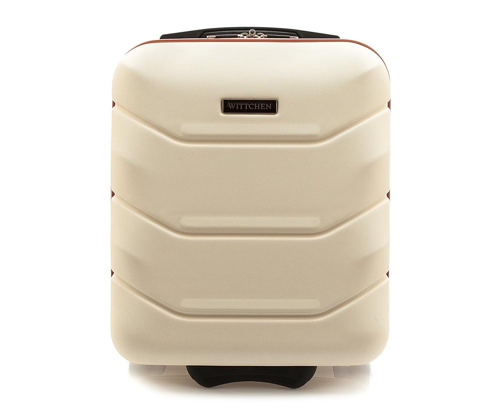 Чемодан на колёсиках 19\Маленький чемодан из коллекции J-Line, сделан из высокопрочного АБС - пластика. Чемодан имеет 4 двойных колесика, выдвижную ручку с фиксатором, дополнтельную ручку для удобной переноски багажа, кодовый замок. Характерная особенность - логотип Wittchen на верхней ручке багажа.<br> <br>Внутри:<br>основное отделение с эластичными ремешками и застежкой-молнией;<br>отсек на молнии<br><br>секс: унисекс<br>Цвет: бежевый<br>материал:: Поликарбонат<br>высота (см):: 42<br>ширина (см):: 32<br>глубина (см):: 25<br>размер:: ручная кладь<br>объем (л):: 25<br>вес (кг):: 2