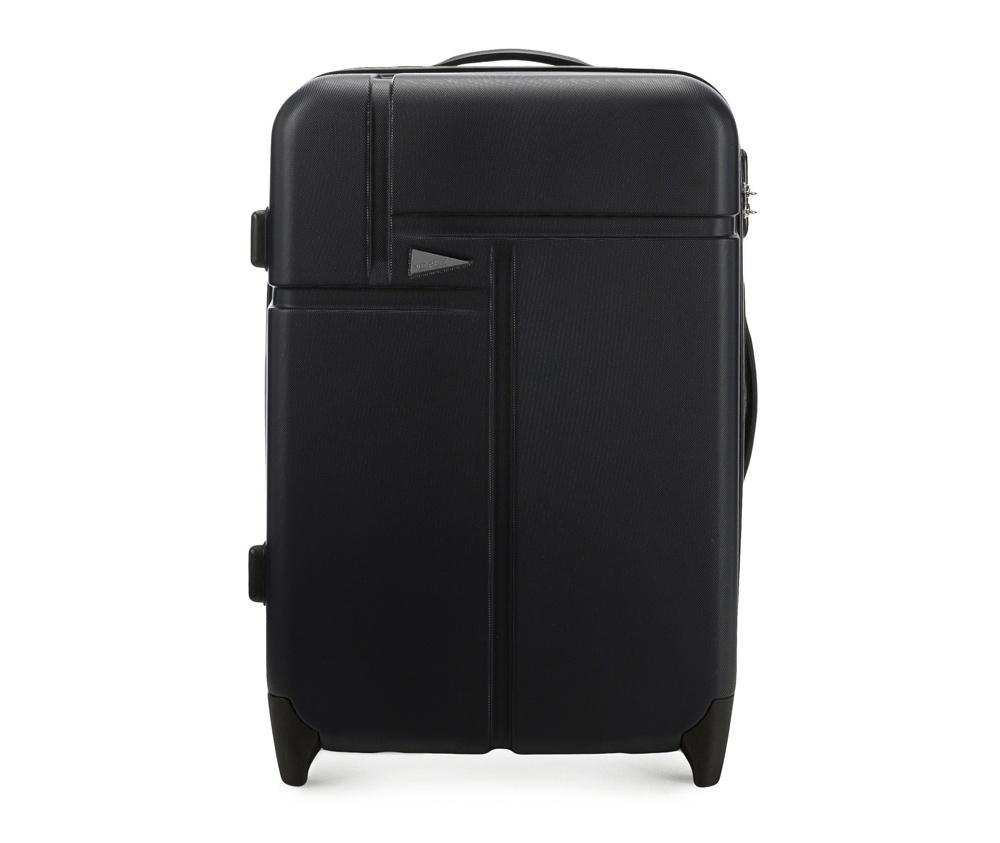 Чемодан на колесиках 23\\Средний чемодан марки VIP Collection. Изготовлен из высокопрочного пластика ABS. Имеет два колесика, выдвижную ручку и резиновую ручку для облегчения передвижения чемодана. Дополнительно  защита в виде кодового замка, предотвращего нежелательный доступ к Вашим вещам.  Внутри:     основное отделение  с эластичными ремнями, предохраняющими одежду от перемещения;  отделение  на молнии;  карман - сетка на молнии.<br><br>секс: унисекс<br>Цвет: черный<br>подкладка:: полиэстр<br>высота (см):: 63<br>ширина (см):: 43<br>глубина (см):: 27<br>размер:: ?rednia<br>объем (л):: 61<br>вес (кг):: 3,3