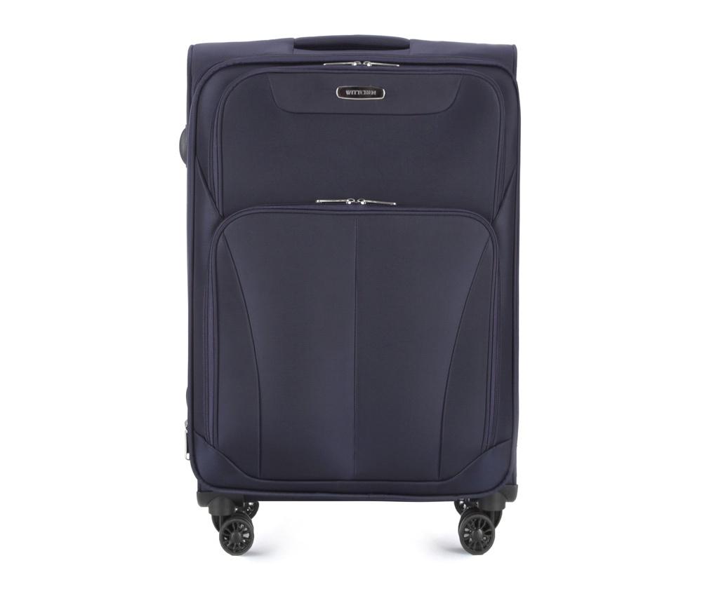 Чемодан на колёсиках 24\\Средний чемодан из коллекции Comfort Line, сделан из прочного полиэстера. Оснащен четырьмя двойными колесами и телескопической ручкой. Дополнительно замоком TSA,который очень удобен и гарантирует безопасное открытие чемоданов и его повторное закрытие без повреждения замка сотрудниками таможни. Чемодан соответствует требованиям ручной клади.  Особенности модели:  карман на молнии с ремнями;  карман из сетки на молнии.     Снаружи:    2 кармана на молнии;  метка с местом для данных владельца.<br><br>секс: унисекс<br>Цвет: синий<br>материал:: Полиэстер<br>подкладка:: полиэстер<br>высота (см):: 67<br>ширина (см):: 44<br>глубина (см):: 27<br>размер:: средний<br>вес (кг):: 3,5<br>объем (л):: 66