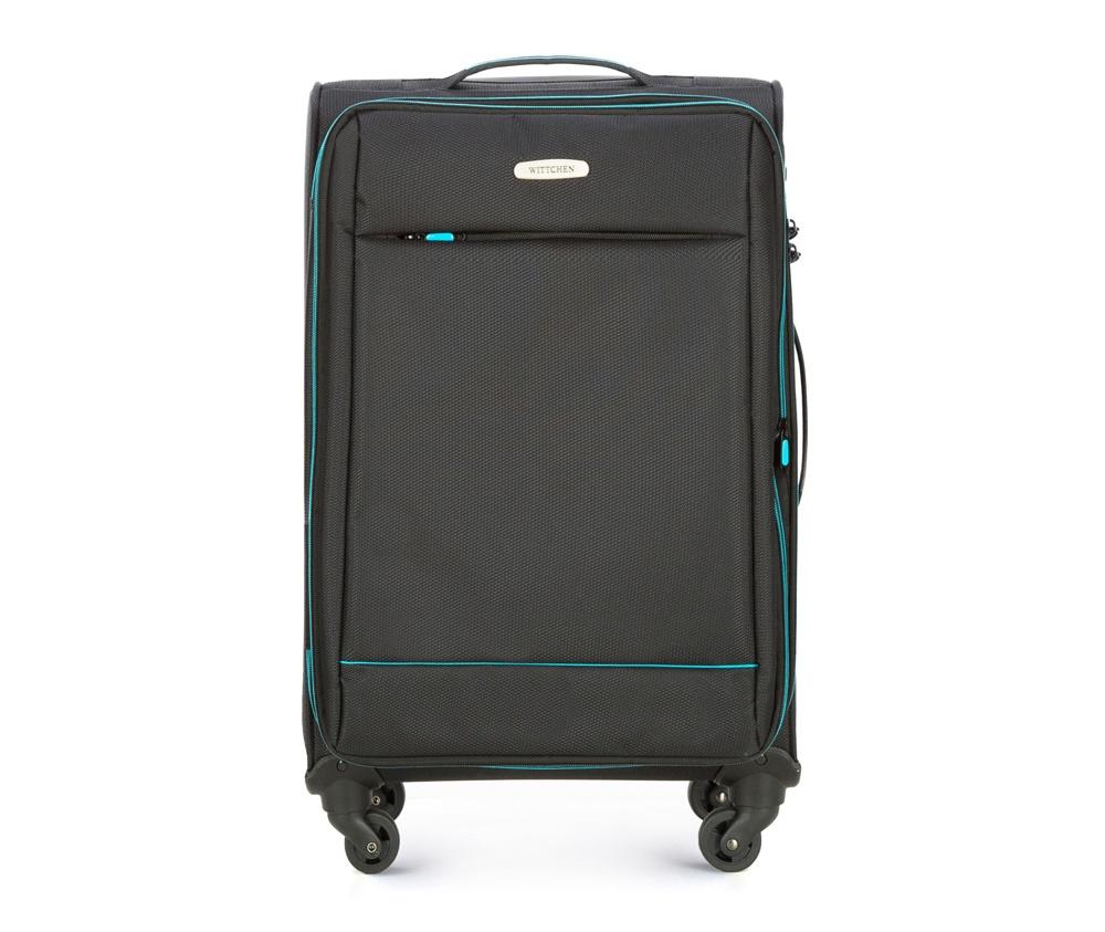 Чемодан на колесиках 23 дюймаЧемодан средних размеров из коллекции Bon Voyage сделана из полиэстра. Четыре прочных колеса позволяют легко перемещать чемодан. Телескопическая ручка и 2 дополнительные ручки делают передвижение багажа более комфортным. Внутри и снаружи чемодана яркие  вставки. Дополнительно замоком TSA,который очень удобен  в случае проверки багажа таможенной службой , который гарантирует безопасное открытие чемоданов и его повторное закрытие без повреждения замка сотрудниками таможни. Модель также имеет молнию, позволяющую увеличить емкость чемодана.  Особенности модели:  основное отделение на молнии с регулируемыми ремнями;  карман из сетки на молнии.    Снаружи:    с лицевой стороны карман на молнии.<br><br>секс: унисекс<br>Цвет: черный<br>материал:: Полиэстер<br>подкладка:: полиэстер<br>высота (см):: 67<br>ширина (см):: 41<br>глубина (см):: 27<br>размер:: средний<br>объем (л):: 56<br>вес (кг):: 2,7