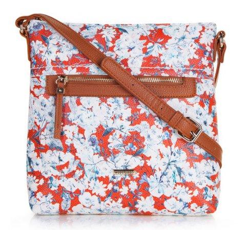 Czerwona torebka w kwiaty