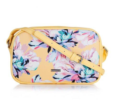 Żółta torebka w kwiaty