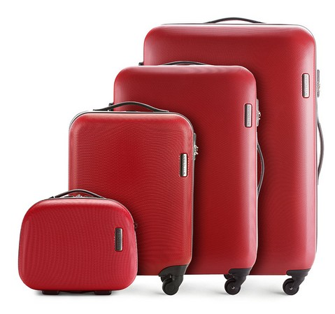 czerwony zestaw walizek