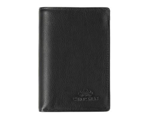 Czarny portfel męski z tłoczeniem