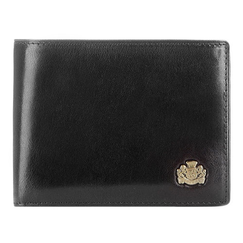 Czarny portfel męski z blaszką
