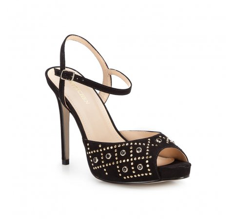 Sandały na szpilce ze złotymi zdobieniami