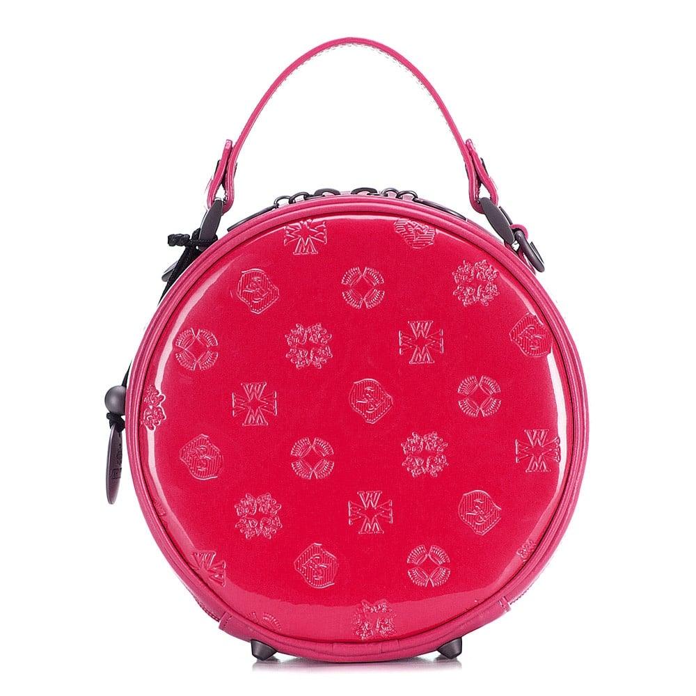 Okrągła torebka skórzana różowa