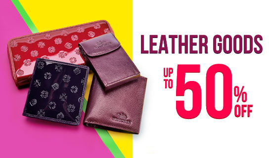leather goods up to 50% off