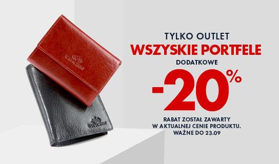 tylko outlet: wszystkie portfele dodatkowe -20%
