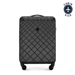 ABS kis bőrönd ferde rácsos, acél - fekete, 56-3A-551-11, Fénykép 1