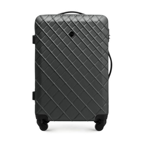 ABS közepes bőrönd ferde ráccsal, acél - fekete, 56-3A-552-91, Fénykép 1