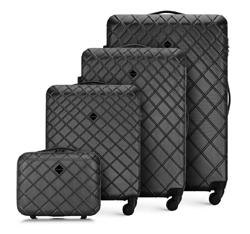 ABS Bőröndszett rácsos díszítéssel, acél - fekete, 56-3A-55K-11, Fénykép 1