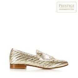 Női szövött bőr filléres cipők, Arany, 92-D-128-G-39, Fénykép 1