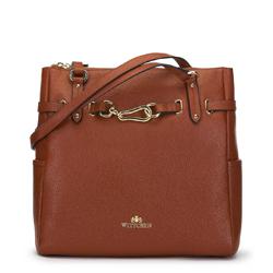 Shopper táska bőrből arany kapoccsal, barna, 91-4E-600-5, Fénykép 1