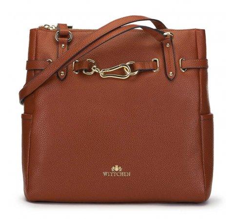 Shopper táska bőrből arany kapoccsal, barna, 91-4E-600-1, Fénykép 1