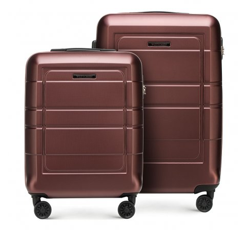Bordás bőröndszett geometriai barázdákkal, barna, 56-3H-54S-9R, Fénykép 1