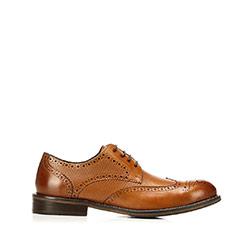 Férfi dombornyomott bőrcipő, barna, 92-M-915-5-43, Fénykép 1