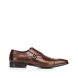 Férfi  monk cipő bőrből, barna, 92-M-514-4-39, Fénykép 1