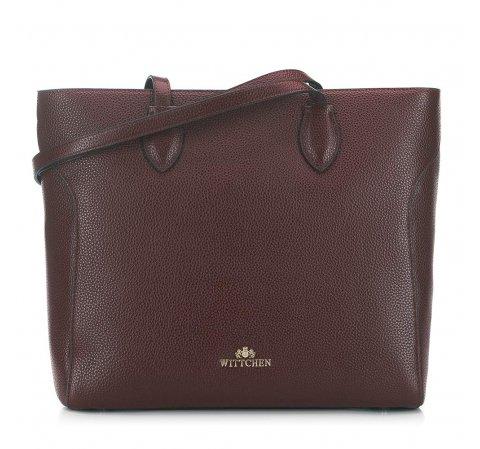 Shopper táska klasszikus szemcsés bőrből, barna, 91-4-704-3, Fénykép 1