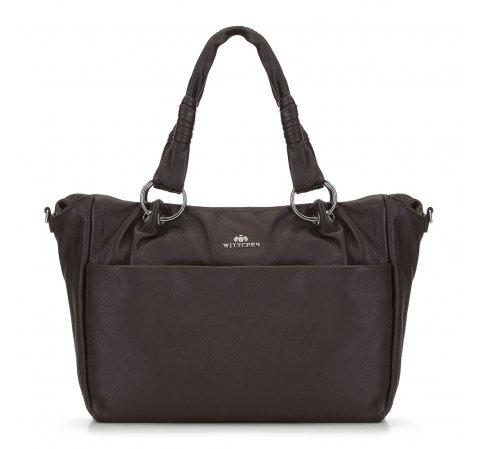 Női retikül táska zsebbel, barna, 91-4E-313-1, Fénykép 1