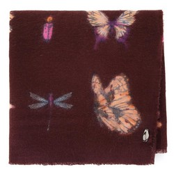 Női pillangós mintás sál, barna, 91-7D-X23-X3, Fénykép 1
