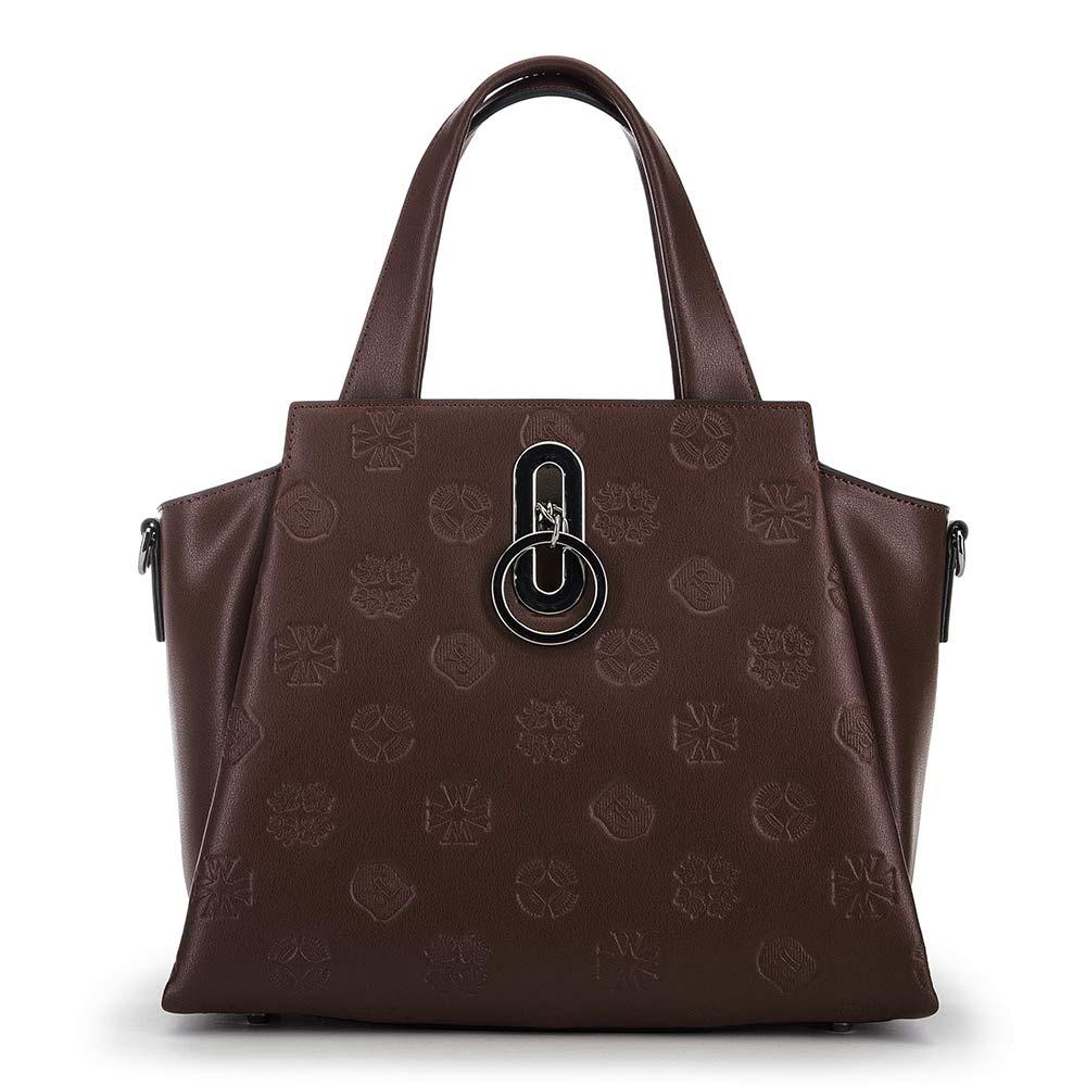 bőrönd típusú női bőrtáska, barna, 91-4E-610-4, Fénykép 1