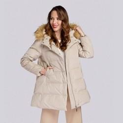 Daunenjacke für Damen mit Kapuze und Ausschnitt, beige, 93-9D-402-9-S, Bild 1