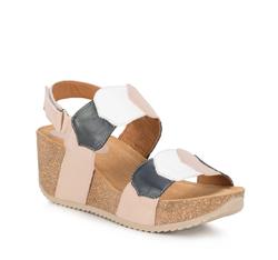 Frauen Schuhe, beige - dunkelblau, 88-D-711-9-38, Bild 1