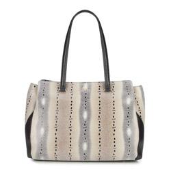 Einkaufstasche, beige-schwarz, 86-4E-362-X01, Bild 1