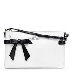 Женская кожаная сумка через плечо с бантом, бело-черный, 92-4E-308-0, Фотография 1