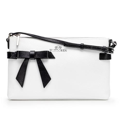 Женская кожаная сумка через плечо с бантом, бело-черный, 92-4E-308-5, Фотография 1