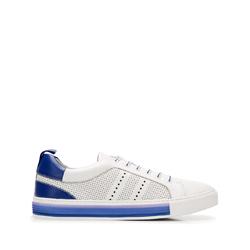 Мужские кожаные кроссовки с перфорацией, бело - голубой, 92-M-901-B-45, Фотография 1
