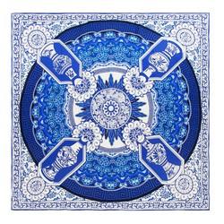 Шелковый шарф большой, бело - голубой, 91-7D-S31-X1, Фотография 1