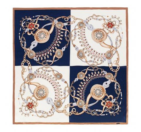 Шелковый шарф большой, бело - голубой, 91-7D-S37-X1, Фотография 1