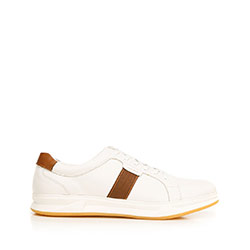 Мужские кожаные кроссовки на резиновой подошве, бело-коричневый, 92-M-510-0-42, Фотография 1