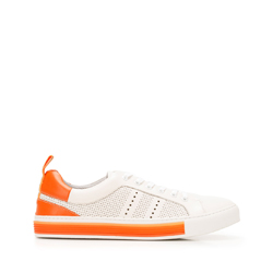 Мужские кожаные кроссовки с перфорацией, бело-оранжевый, 92-M-901-O-40, Фотография 1