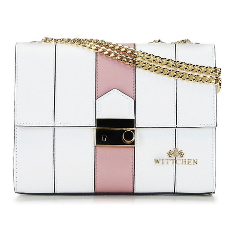 Кожаная сумка через плечо с регулируемой цепочкой, бело-розовый, 92-4E-630-1B, Фотография 1
