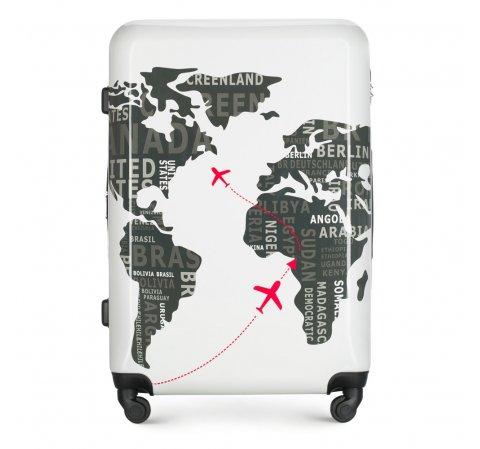 Большой чемодан, бело - серый, 56-3A-463-9C, Фотография 1