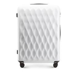 Большой рельефный чемодан из ABS-пластика, белый, 56-3H-553-88, Фотография 1