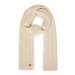 Женский плетеный шарф с косами, белый с оттенком, 93-7F-006-9, Фотография 1