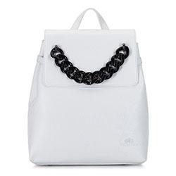 Женский кожаный рюкзак с цепочкой, белый, 92-4E-307-0, Фотография 1