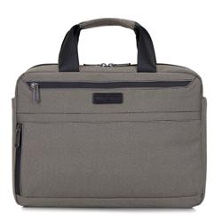 Мужская сумка для ноутбука 13 дюймов с небольшим боковым карманом, бежево- черный, 92-3P-102-8, Фотография 1