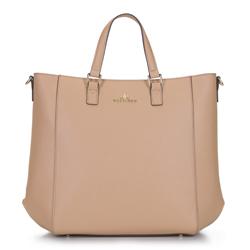 Классическая кожаная сумка-шоппер, бежево-коричневый, 92-4E-644-99, Фотография 1