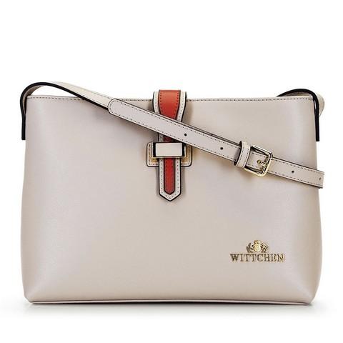 Женская кожаная сумка через плечо с контрастной застежкой, бежево - оранжевый, 92-4E-610-10, Фотография 1